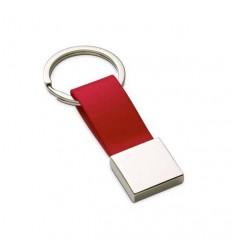 Llavero Polipiel-Metal con Logo de Empresa Color Rojo