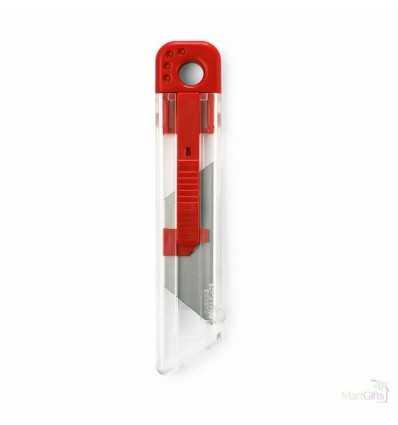 Cúter de Plástico Retráctil Publicitario Color Rojo