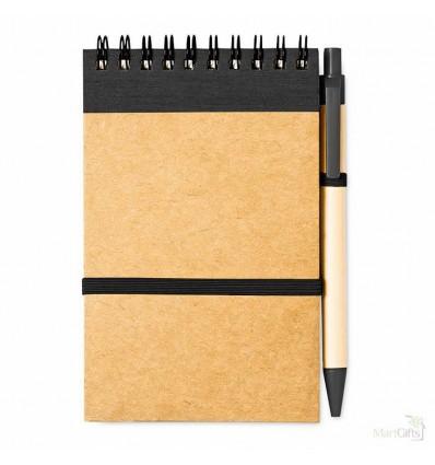 Libreta y Bolígrafo Ecológicos Publicitaria Color Negro