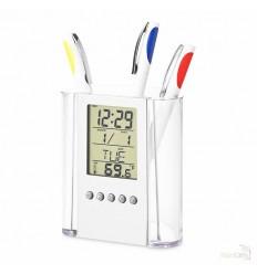 Portalápices con Reloj y Termómetro Publicidad Color Transaparente