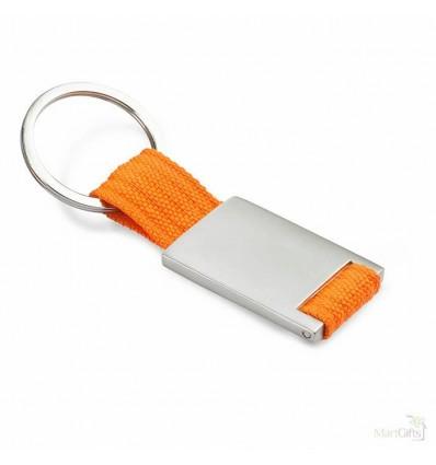 Llavero de Metal y Poliester para Campañas Publicitarias Color Naranja
