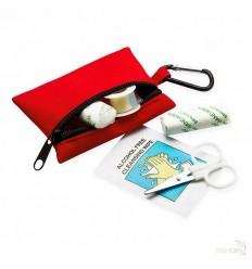 Kit de Primeros Auxilios en Bolsa con Mosquetón Color Rojo