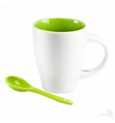 Taza de Cerámica Bicolor con Cuchara Publicidad color Verde Lima