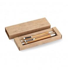 Bolígrafo y Lápiz de Bambú Publicitario Color Madera