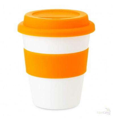 Vaso de Plástico Promocional con Tapa de Silicona Color Naranja