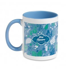 Taza para Sublimcación con Interior de Color Promocional - Color Azul Ejemplo de Marcaje