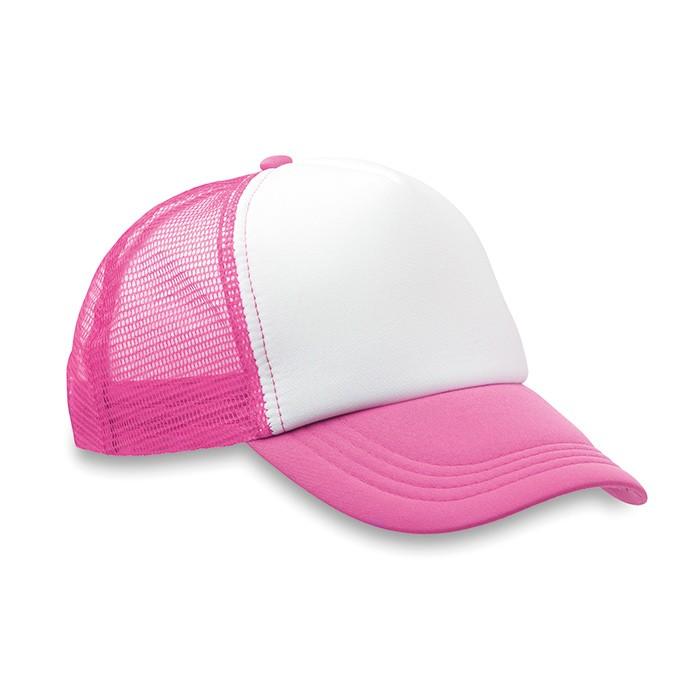 Gorra de Béisbol de Poliéster con 5 Paneles para Campañas Publicitarias  Color Fúcsia Fluorescente 11d250387ee