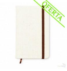 Cuaderno con Tapa de Canvas y Banda Elástica Promocional Color Beige