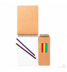 Cuaderno para Colorear con 8 Lápices de Colores Publicitario