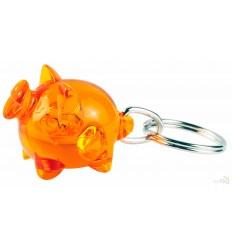 Llavero Personalizado Cerdo para Publicidad Color Naranja Transparente