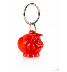 Llavero Promocional Cerdo Sonrisas para Publicidad Color Rojo