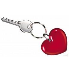 Llavero Publicitario Corazón Promocional Color Rojo Transparente