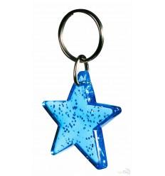 Llavero para Publicidad Estrella Promocional Color Azul Fluorescente Transparente