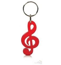 Llavero Promocional Clave Musical Personalizado Color Rojo Transparente
