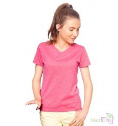 Camiseta HD Cuello V para Niña con Logo Promocional