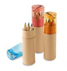 Caja redonda con 6 Lápices de Colores Publicitaria