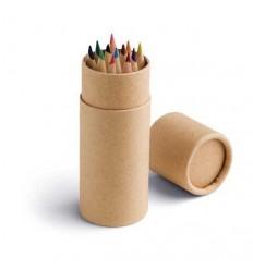 Caja redonda con 12 Lápices de Colores Promocional