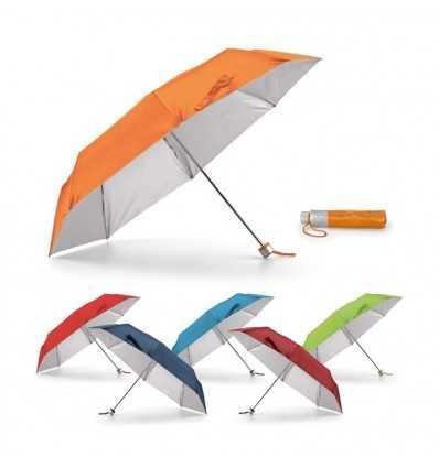Paraguas Plegable con Interior Plateado gama de colores, para logo promocional