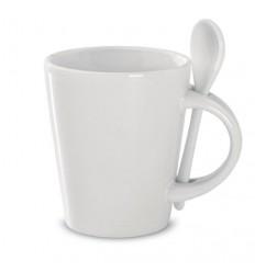 Taza de Cerámica Promocional con Cuchara - Color Blanco