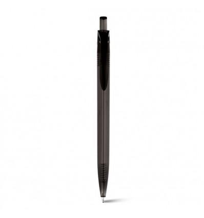 Bolígrafo Promocional de Plástico Transparente Liso Negro