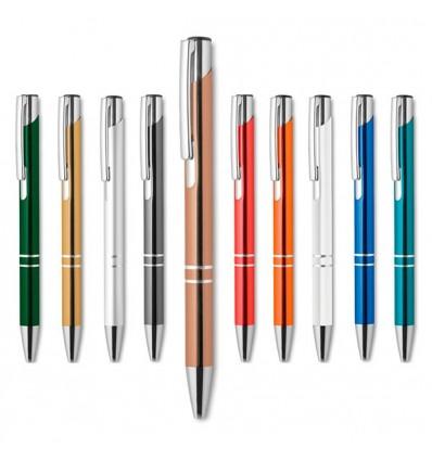 Bolígrafo con Pulsador en Acabado Anodizado con Logo