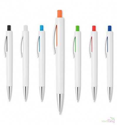 Bolígrafo Blanco con Pulsador de Color Personalizado