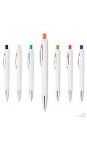 Bolígrafo Blanco con Pulsador de Color