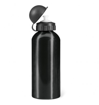Botella de Aluminio de 600 ml para Deporte color Negro