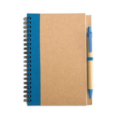 Libreta y Bolígrafo Reciclados para Publicidad Color Azul