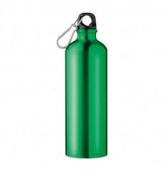 Botella de Aluminio con Mosquetón Publicitaria color Verde
