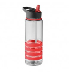 Botella de Tritán con Pajita Plegable con Logo color Rojo