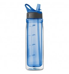 Botellín Personalizado de Tritan Doble Capa con Pajita - Color Azul Royal