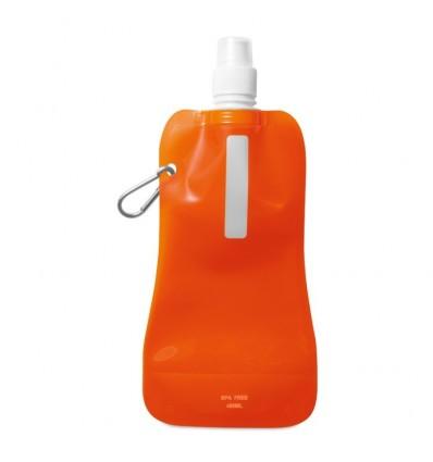 Botella Plegable Publicitaria con Mosquetón - Color Naranja