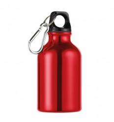 Botella de Aluminio con Mosquetón Personalizada en color Rojo
