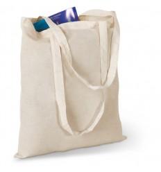 Bolsa de la Compra Asas Largas de Algodón Promocional Detalle Bolsa Vacía Color Beige