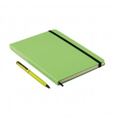 Libreta A5 con Hojas Rayadas y Bolígrafo color Verde Lima Publicitario