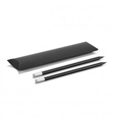 Set de Dos Lápices de Madera Negros para Regalo de Empresa Color Cromado Satinado