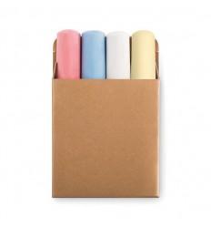 4 Tizas Gruesas de Colores con Caja de Cartón Promocional
