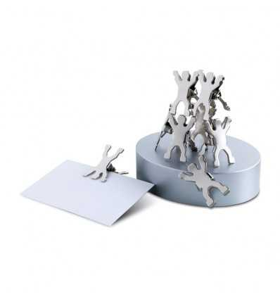 Base Magnética con Clips en Forma de Hombre Promocional Color Plata Mate