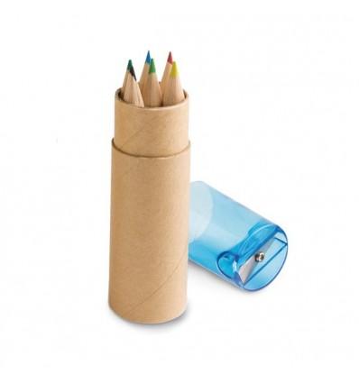 Caja redonda con 6 Lápices de Colores Merchandising Color Azul