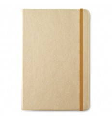 Libreta de Notas de Rayas en Papel Reciclado con Publicidad Color Oro