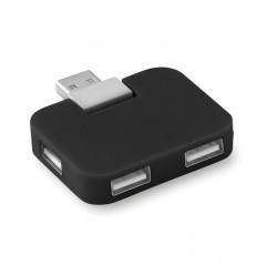 Hub USB con 4 Puertos en ABS Personalizado Color Negro