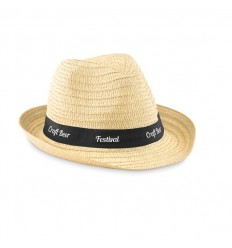 Sombrero de Paja con Cinta de Color Negro para Publicidad