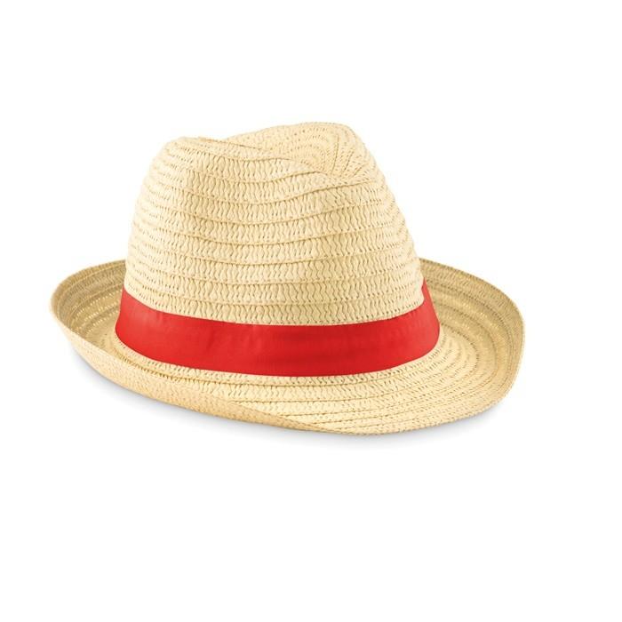 995b07a47e5 Sombrero de Paja con Cinta de Color Rojo para Publicidad