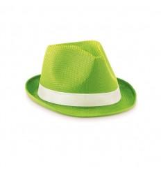 Sombrero de Paja de Color Verde Lima con Cinta Blanca