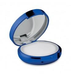 Bálsamo Labial con Espejo y Acabado Metálico Promocional Color Azul