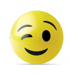 Pelota para Playa con Emoticono Guiño Publicitaria Color Amarillo