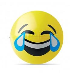 Pelota para Playa con Emoticono Carcajada Publicitaria Color Amarillo