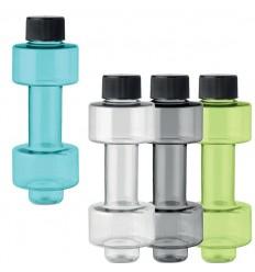 Botella de plástico con forma de mancuerna para eventos deportivos