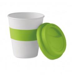 Vaso ecológico con tapa y banda de silicona promocional
